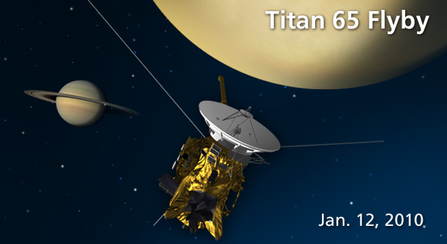 Artist's concept of Cassini's Jan. 12, 2009, flyby of Titan