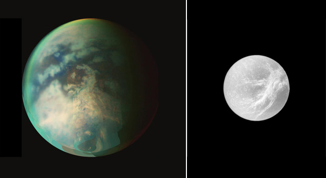 Composite of Saturn's moons Titan and Dione