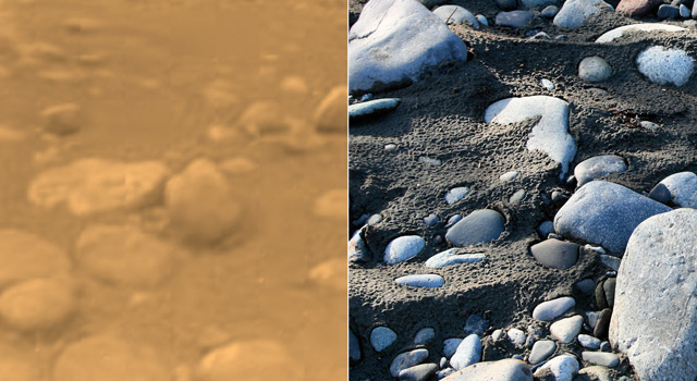 The left-hand image, obtained by the European Space Agency's Huygens probe, shows rounded rocks from the surface of Saturn's moon Titan.