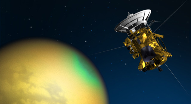 Artist's concept of Cassini's June 4, 2010, flyby of Saturn's moon Titan
