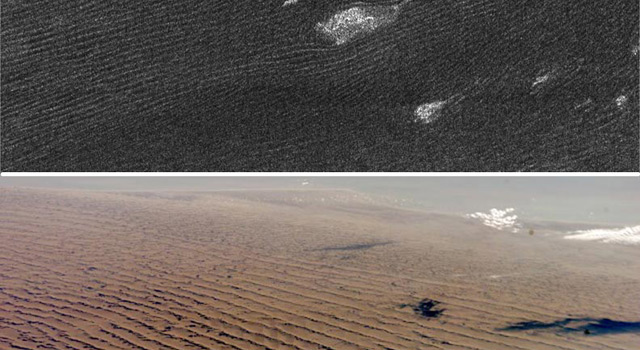 Sand dunes on Saturn's moon Titan compared to Nambian sand dunes