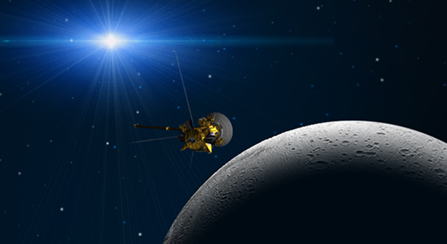 Artist's concept of Cassini's Nov. 30 flyby of Saturn's moon Enceladus