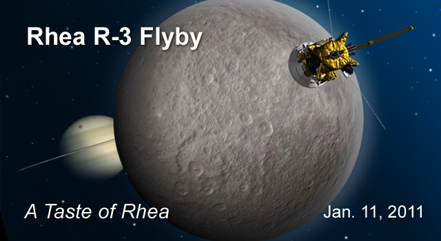 This artist's concept shows the third flyby of Saturn's moon Rhea by NASA's Cassini spacecraft. It is the closest flyby of Cassini's mission.