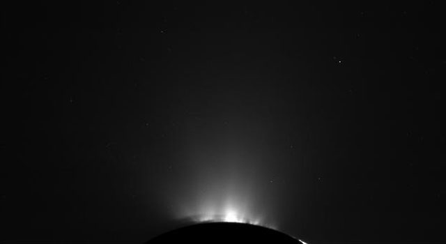 These two views of Saturn's moon Enceladus were made from data obtained by Cassini spacecraft