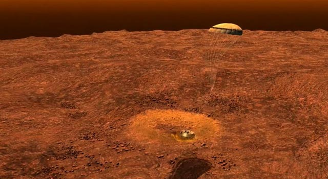 This still image is from an animation that re-creates the final descent of ESA's Huygens probe as it landed on Titan on Jan.