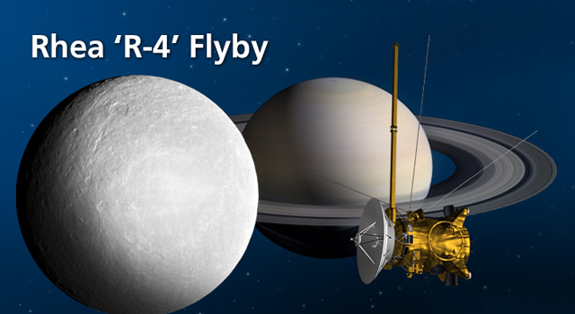NASA's Cassini spacecraft will be flying close to Saturn's moon Rhea on Saturday