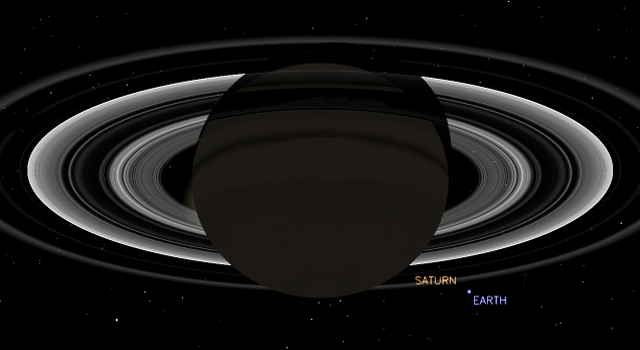 This simulated view from NASA's Cassini spacecraft shows the expected positions of Saturn and Earth on July 19, 2013, around the time Cassini will take Earth's picture.