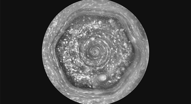 New views from NASA's Cassini spacecraft of the unique six-sided jet stream around Saturn's north pole