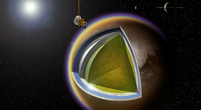 This artist's concept shows a possible model of Titan's internal structure