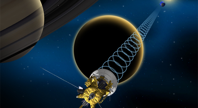 Artist's concept of Titan flyby