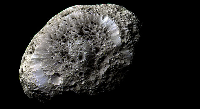 Cassini obtained this false-color view of Saturn's moon Hyperion