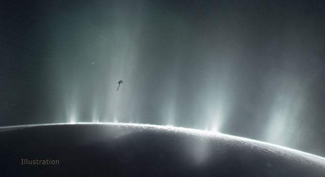 Artist's rendering shows Cassini diving through the Enceladus plume