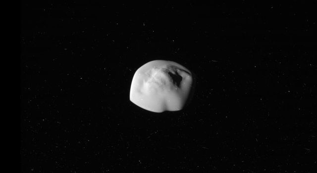 This unprocessed image of Saturn's moon Atlas was taken on April 12, 2017