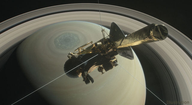 Artist's illustration of Cassini at Saturn