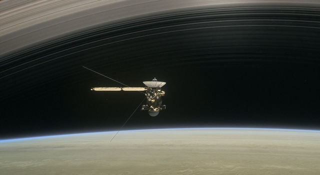 Artist concept of Cassini at Saturn