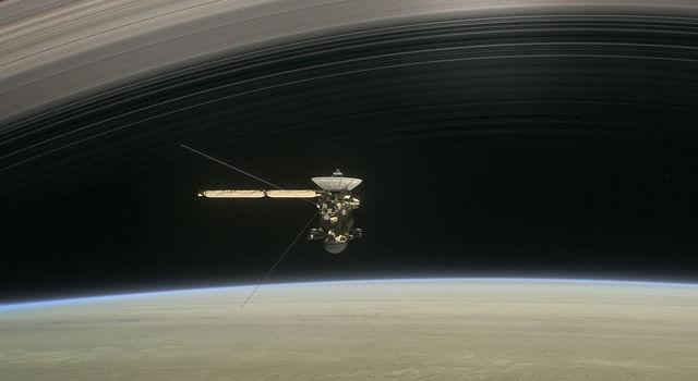 Artist concept of Cassini at Saturn