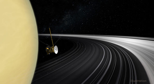Artist's concept of the Cassini orbiter crossing Saturn's ring plane