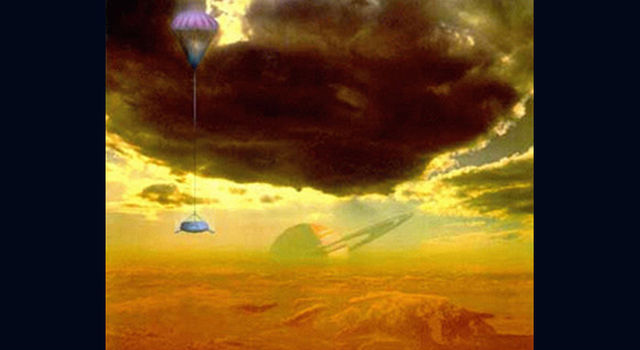 Artist's concept of Huygens probe descending to Titan