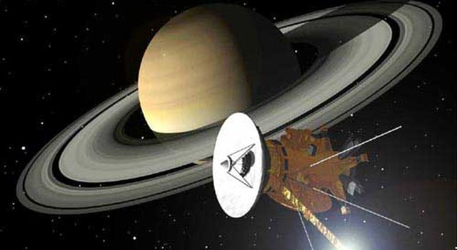 Artist's concept of Cassini approaching Saturn.