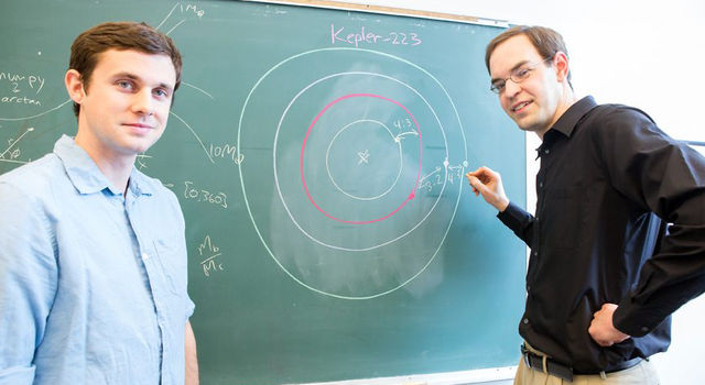Sean Mills (left) and Daniel Fabrycky (right), researchers at the University of Chicago