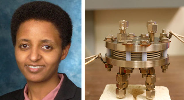 Picture of Sossina Haile and a fuel cell