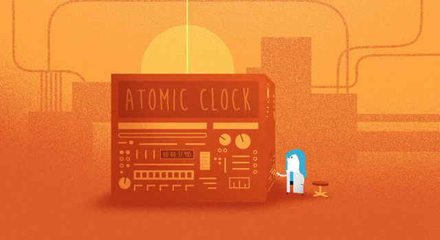 Artist's concept of an atomic clock