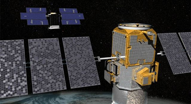 artist's concept of Cloudsat and Calipso