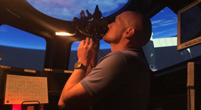 NASA astronaut Alexander Gerst learns how to use a sextant