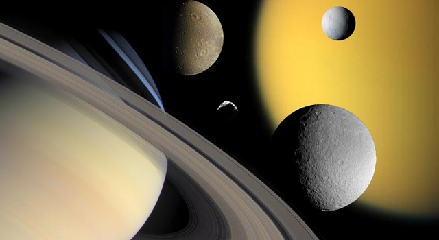 montage of Saturn's moons