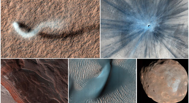 Five images taken by the HiRISE camera aboard NASA's Mars Reconnaissance Orbiter