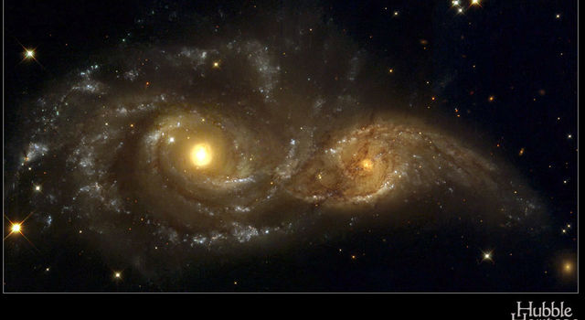 Grazing galaxies, imaged by Hubble Space Telesope