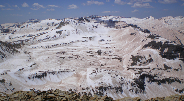 Dust-covered snow in the San Juan Mountains.