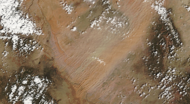 NASA's Terra spacecraft captured this image of a dust storm in northeastern Arizona in April 2009.