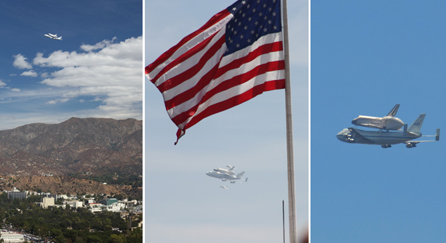 Endeavor Flies Over JPL