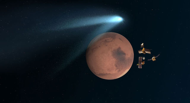 Artist's concept showing NASA's Mars orbiters lining up behind the Red Planet