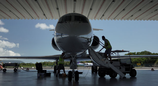 The Gulfstream III carrying NASA's PRISM instrument being readied for science flights from Cairns, Australia.