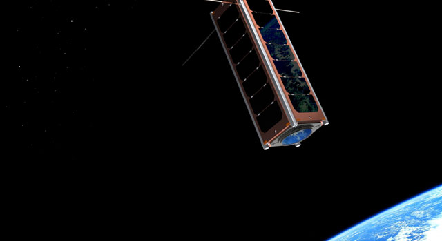 This image is an artist concept of a CubeSat in space. CubeSats are tiny, fully-functional satellites.