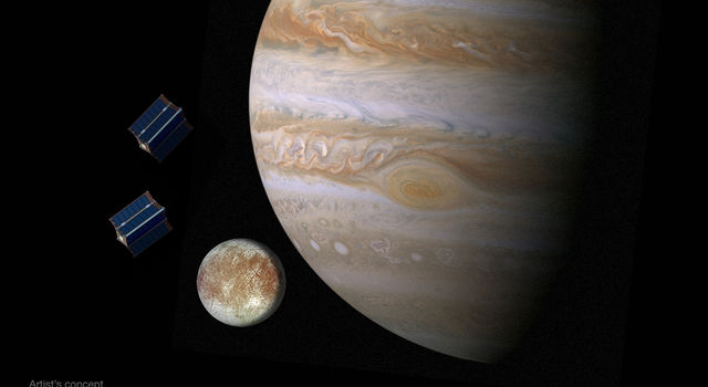Artist's concept of CubeSats near Jupiter's moon Europa