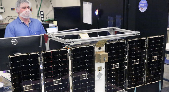One of eight microsatellites in the CYGNSS constellation under construction