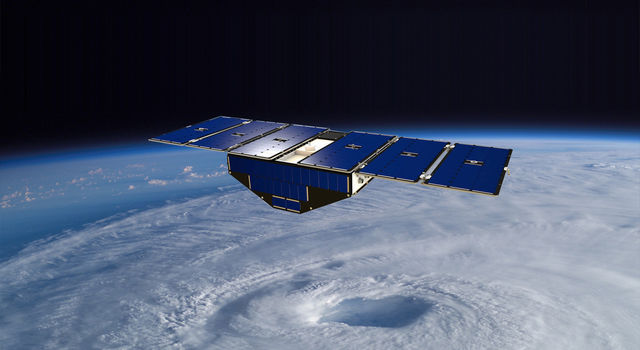 Artist's concept of one of the eight Cyclone Global Navigation Satellite System satellites