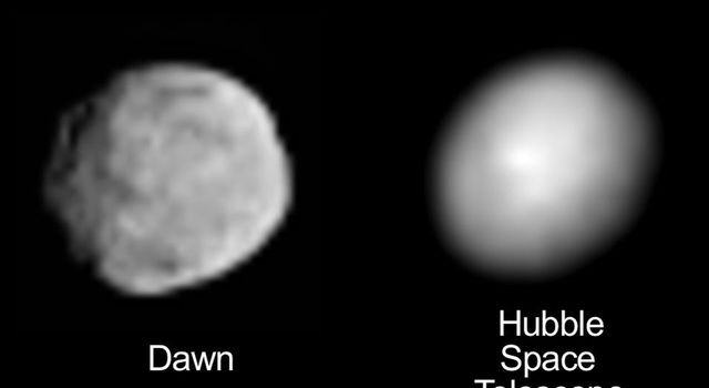 Dawn and Hubble Views of Vesta