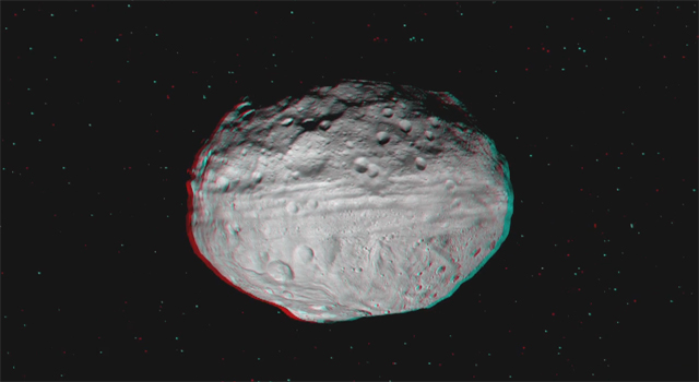 Still from a 3-D video incorporating images from NASA's Dawn spacecraft