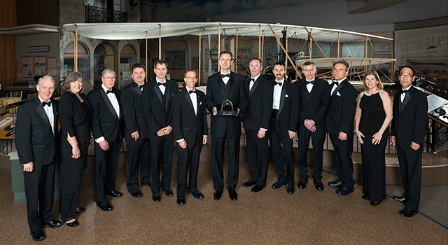 The flight team for NASA's Dawn mission received the 2014 Trophy