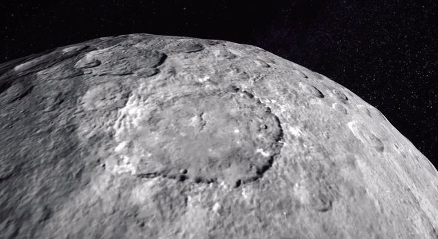 The images come from Dawn's first mapping orbit at Ceres