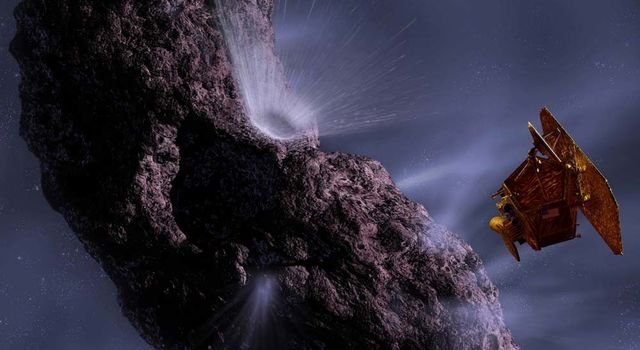 artist's concept of Deep Impact and comet Tempel 1