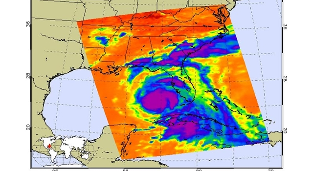 July 9, 2005, infrared image of Hurricane Dennis