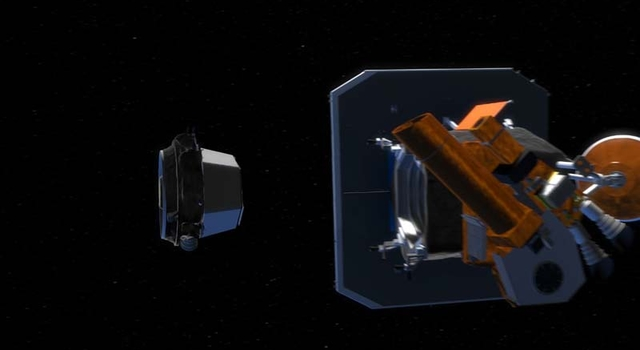 artist's concept of impactor separating from flyby
