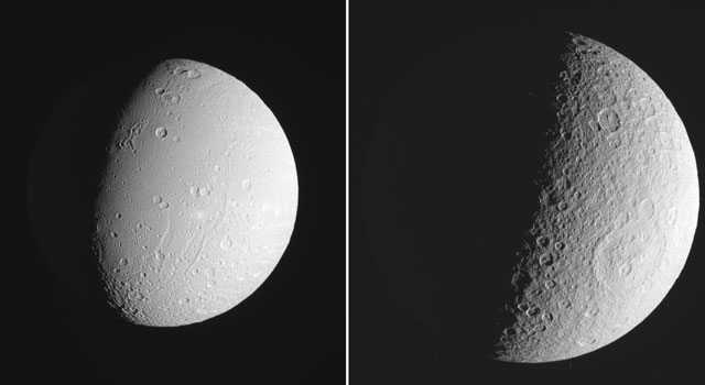 These three views of Saturn's moon Rhea were made from data obtained by NASA's Cassini spacecraft.