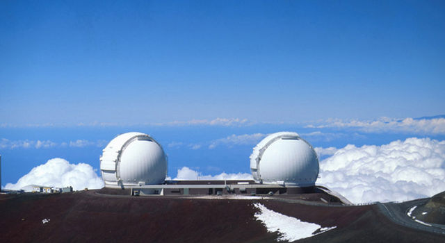 The twin Keck Telescopes atop Mauna Kea, Hawaii.