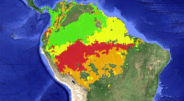 Areas of the Amazon basin that were affected by the severe 2005 drought